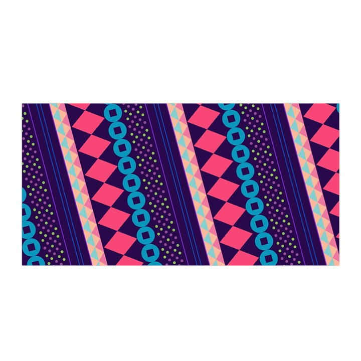 Purple And Pink Retro Geometric Pattern Satin Wrap
