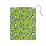 Tropical Floral Pattern Drawstring Pouches (Large)  Front