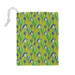 Tropical Floral Pattern Drawstring Pouches (Large)  Back