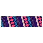 Purple And Pink Retro Geometric Pattern Satin Scarf (Oblong) Front