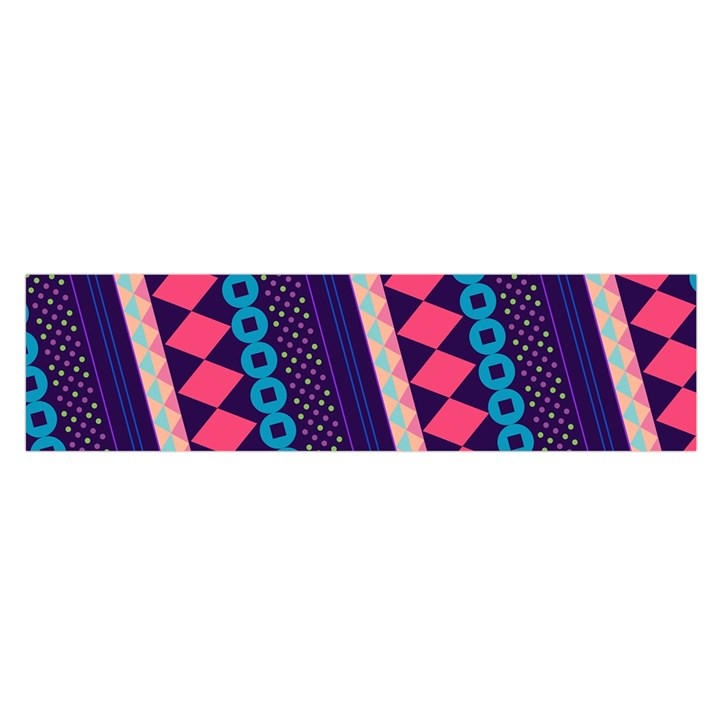 Purple And Pink Retro Geometric Pattern Satin Scarf (Oblong)
