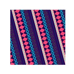 Purple And Pink Retro Geometric Pattern Small Satin Scarf (Square)