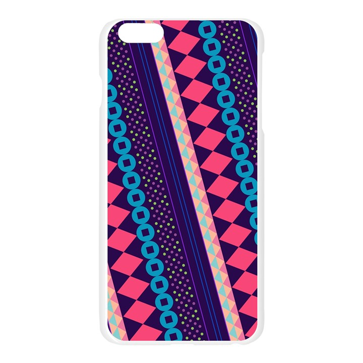 Purple And Pink Retro Geometric Pattern Apple Seamless iPhone 6 Plus/6S Plus Case (Transparent)