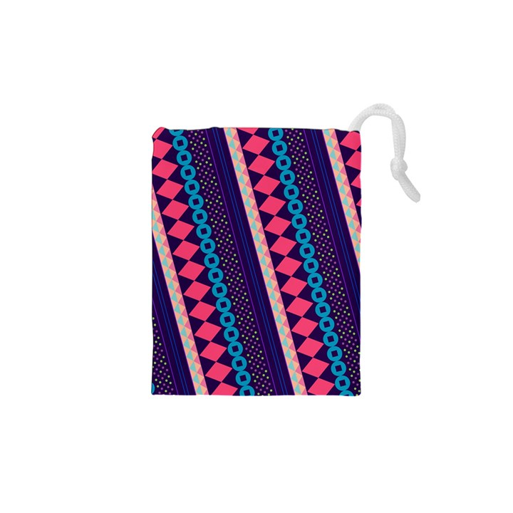 Purple And Pink Retro Geometric Pattern Drawstring Pouches (XS)