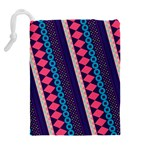 Purple And Pink Retro Geometric Pattern Drawstring Pouches (Extra Large) Back