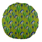 Tropical Floral Pattern Large 18  Premium Flano Round Cushions Back