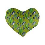 Tropical Floral Pattern Standard 16  Premium Flano Heart Shape Cushions Front