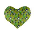 Tropical Floral Pattern Standard 16  Premium Flano Heart Shape Cushions Back