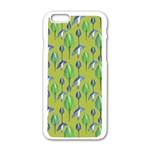 Tropical Floral Pattern Apple iPhone 6/6S White Enamel Case Front