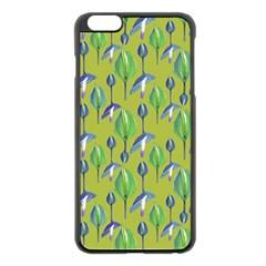 Tropical Floral Pattern Apple Iphone 6 Plus/6s Plus Black Enamel Case