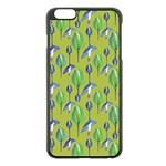 Tropical Floral Pattern Apple iPhone 6 Plus/6S Plus Black Enamel Case Front