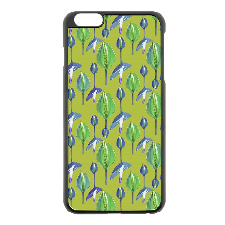 Tropical Floral Pattern Apple iPhone 6 Plus/6S Plus Black Enamel Case