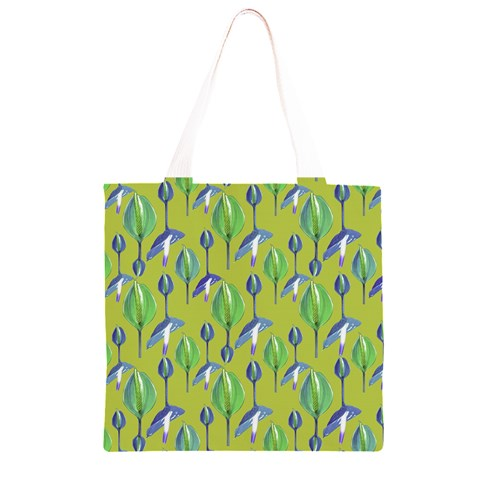 Tropical Floral Pattern Grocery Light Tote Bag