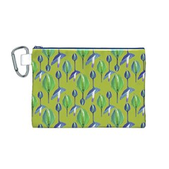 Tropical Floral Pattern Canvas Cosmetic Bag (M)