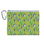 Tropical Floral Pattern Canvas Cosmetic Bag (L) Front
