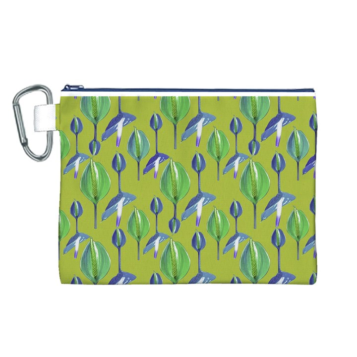 Tropical Floral Pattern Canvas Cosmetic Bag (L)