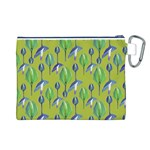 Tropical Floral Pattern Canvas Cosmetic Bag (L) Back