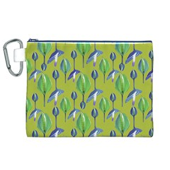 Tropical Floral Pattern Canvas Cosmetic Bag (xl)