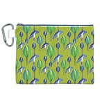 Tropical Floral Pattern Canvas Cosmetic Bag (XL) Front
