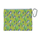 Tropical Floral Pattern Canvas Cosmetic Bag (XL) Back