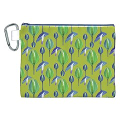 Tropical Floral Pattern Canvas Cosmetic Bag (XXL)