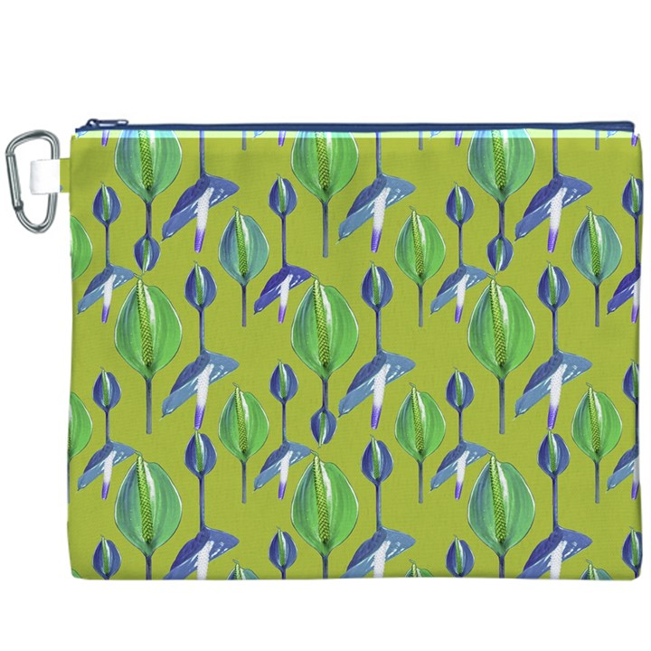 Tropical Floral Pattern Canvas Cosmetic Bag (XXXL)