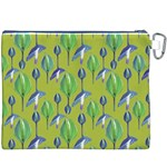 Tropical Floral Pattern Canvas Cosmetic Bag (XXXL) Back