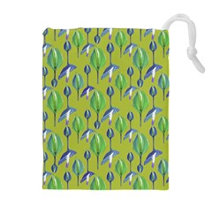 Tropical Floral Pattern Drawstring Pouches (Extra Large)