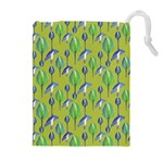 Tropical Floral Pattern Drawstring Pouches (Extra Large) Front