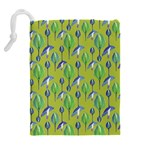 Tropical Floral Pattern Drawstring Pouches (Extra Large) Back