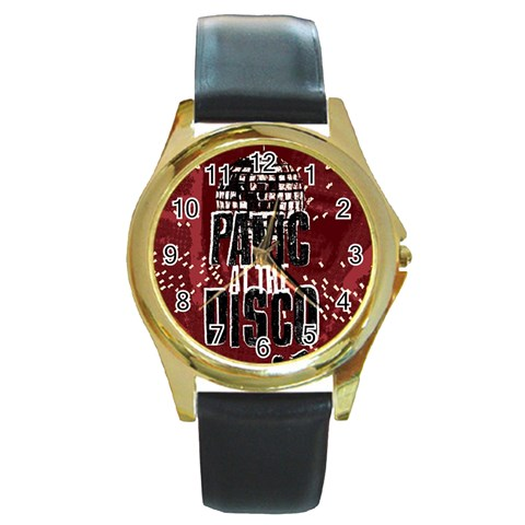 Panic At The Disco Poster Round Gold Metal Watch