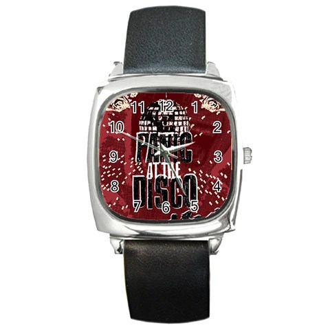 Panic At The Disco Poster Square Metal Watch