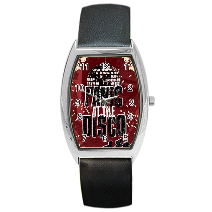 Panic At The Disco Poster Barrel Style Metal Watch
