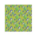 Tropical Floral Pattern Small Satin Scarf (Square) Front