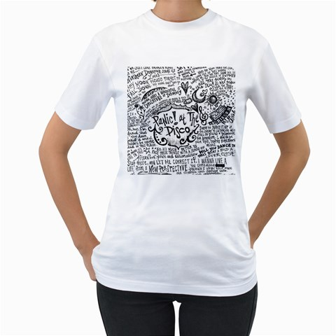 Panic! At The Disco Lyric Quotes Women s T-Shirt (White) (Two Sided)