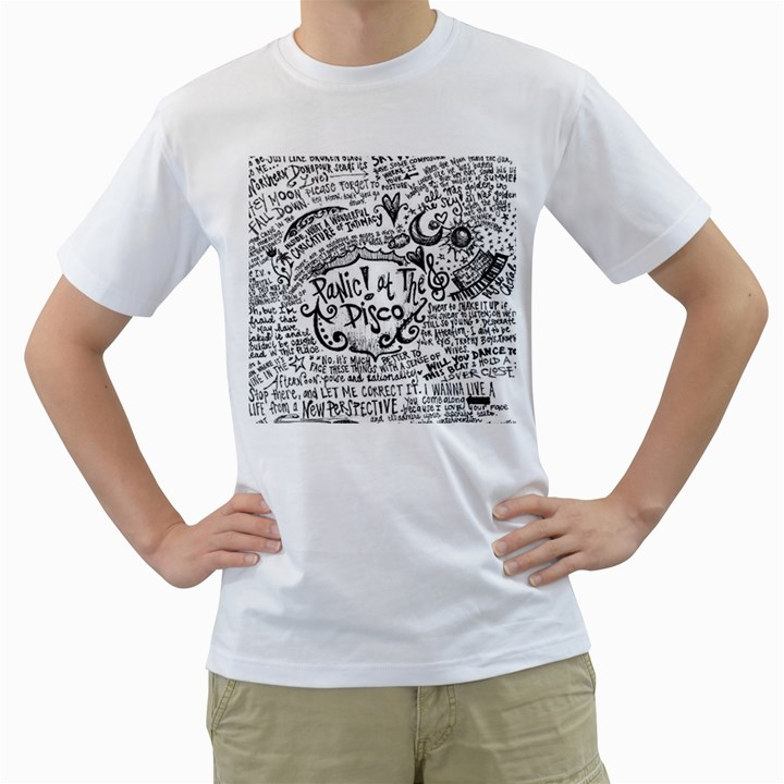 Panic! At The Disco Lyric Quotes Men s T-Shirt (White) (Two Sided)
