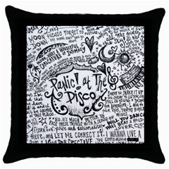 Panic! At The Disco Lyric Quotes Throw Pillow Case (black)