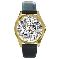 Panic! At The Disco Lyric Quotes Round Gold Metal Watch