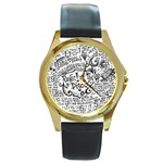 Panic! At The Disco Lyric Quotes Round Gold Metal Watch Front