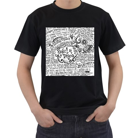 Panic! At The Disco Lyric Quotes Men s T-Shirt (Black) (Two Sided)