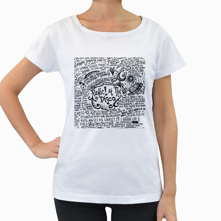 Panic! At The Disco Lyric Quotes Women s Loose-Fit T-Shirt (White)