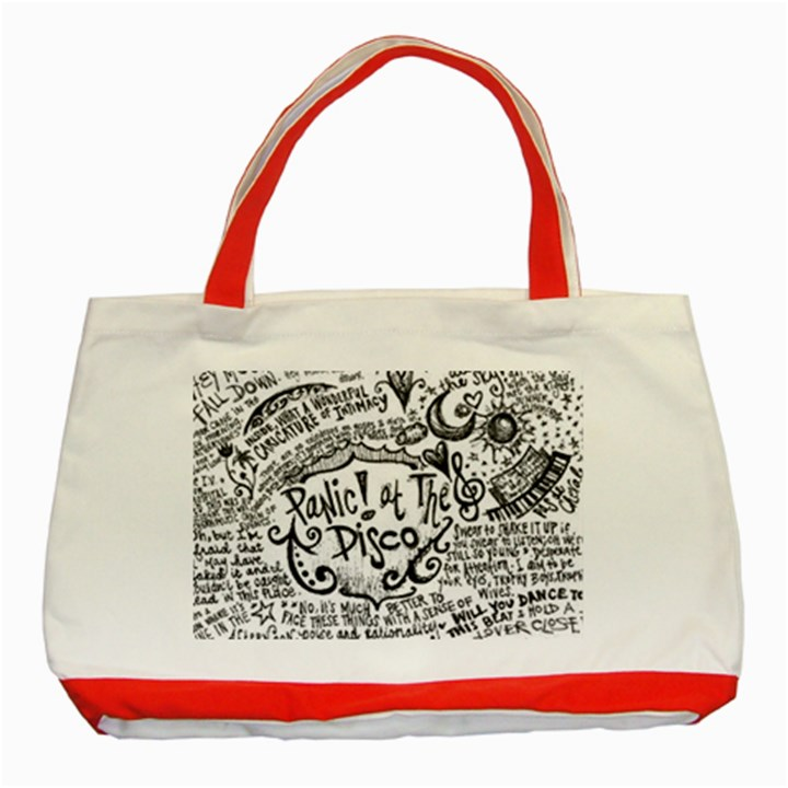 Panic! At The Disco Lyric Quotes Classic Tote Bag (Red)