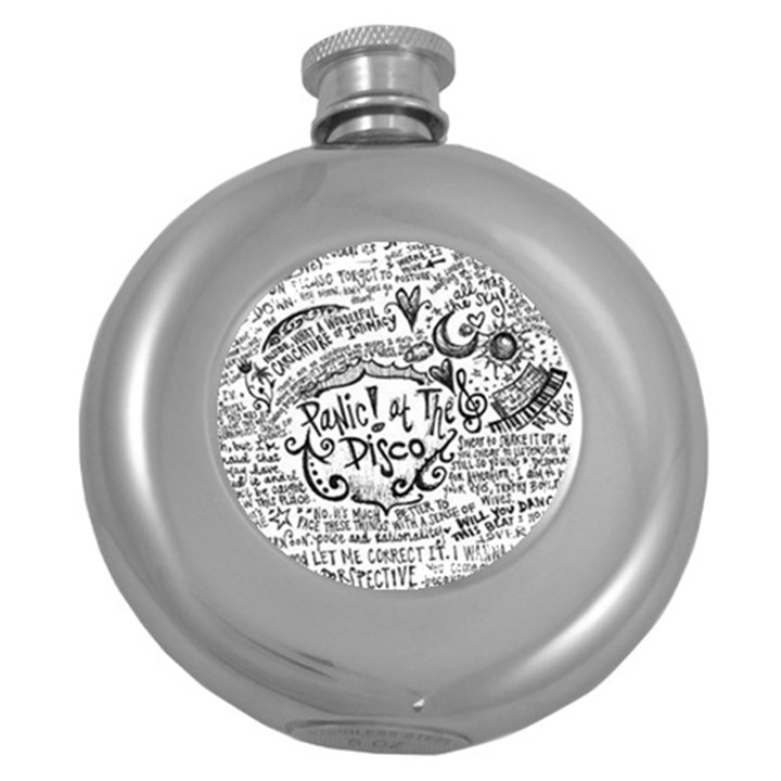 Panic! At The Disco Lyric Quotes Round Hip Flask (5 oz)