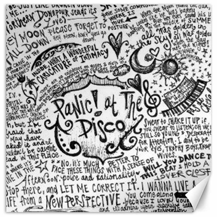 Panic! At The Disco Lyric Quotes Canvas 16  x 16
