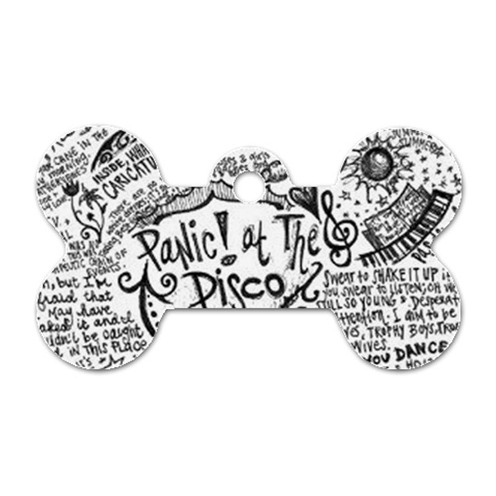 Panic! At The Disco Lyric Quotes Dog Tag Bone (Two Sides)