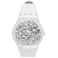 Panic! At The Disco Lyric Quotes Round Plastic Sport Watch (M)