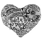 Panic! At The Disco Lyric Quotes Large 19  Premium Heart Shape Cushions Back
