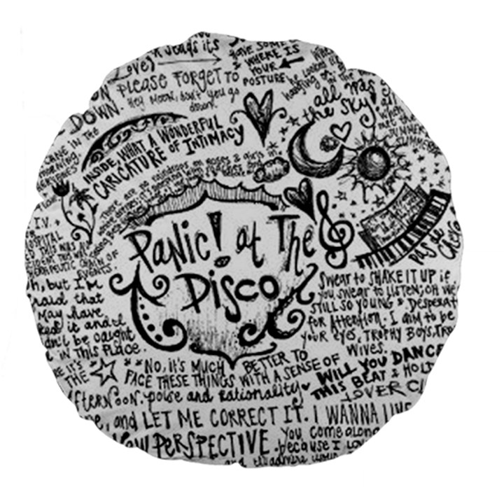 Panic! At The Disco Lyric Quotes Large 18  Premium Flano Round Cushions