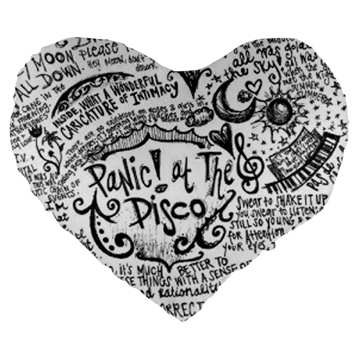 Panic! At The Disco Lyric Quotes Large 19  Premium Flano Heart Shape Cushions