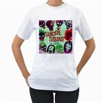 Panic! At The Disco Suicide Squad The Album Women s T-Shirt (White) (Two Sided) Front
